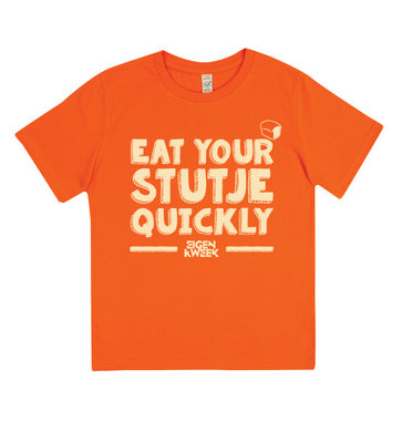 Eat Your Stutje Quickly (Orange kids shirt)
