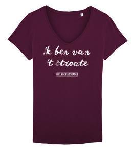 "Niels Destadsbader - Burgundy ""Ik ben van 't stroate"" Girls shirt"