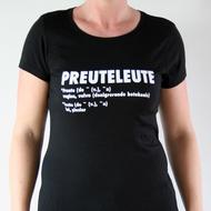 """Preuteleute - Black """"Preuteleute"""" Womens T-shirt"""